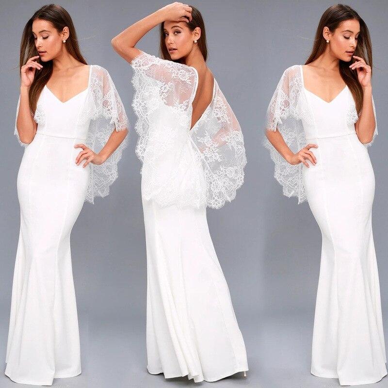 White Backless Lace Mermaid Wedding Dresses 2018 V Neck: 2018 New Arrival V Neck Lace Short Sleeve Backless Mermaid