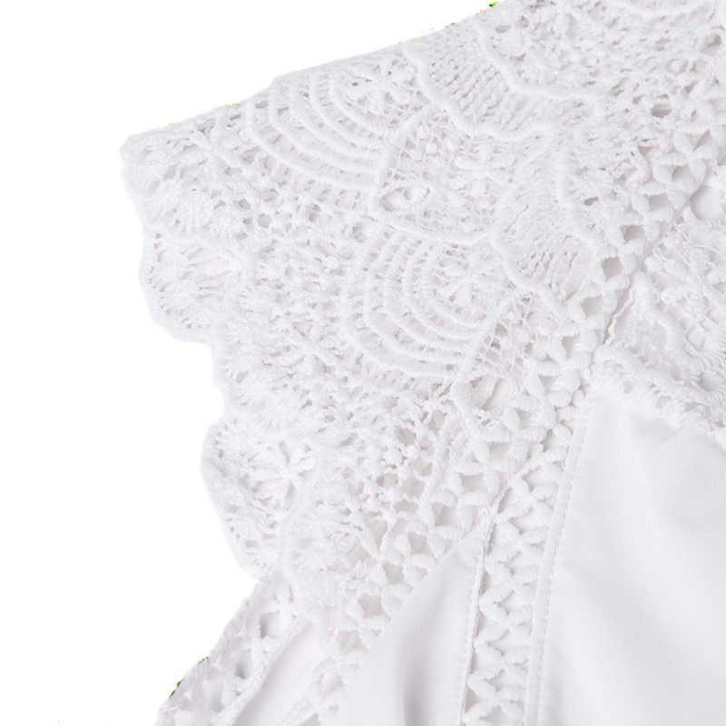 VONDA 2019 נשים חולצה טוניקת סקסי שרוולים תחרה חולצה OL משרד גבירותיי חולצה הולו המפלגה חולצות Camisas לבן Blusas בתוספת גודל