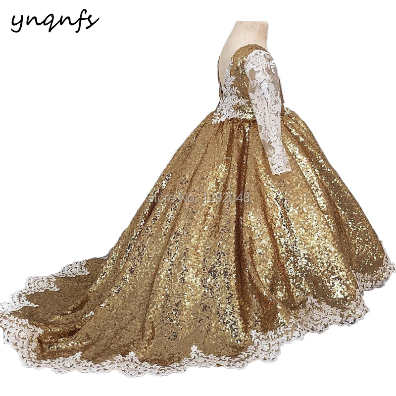 YNQNFS G2 Bling Sequins Gold Princess   Flower     Girl     Dresses   Ball Gown Party Evening Pageant Birthday Photography Communion   Dresses
