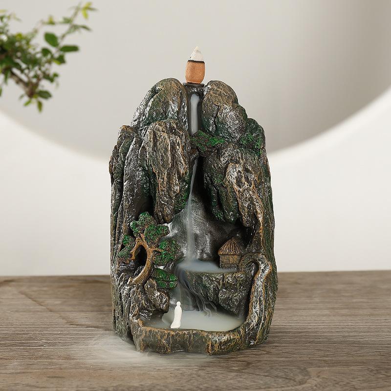 Ceramic Rockery Glaze Backflow Incense Burner Censer Cones Holder Stick Smoke