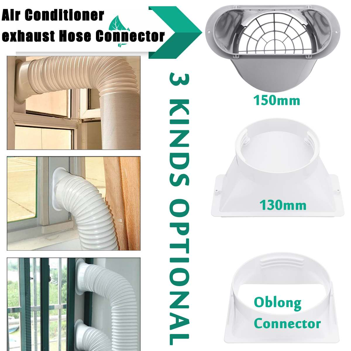 Air Conditioner Window Pipe Interface Exhaust Hose/Tube Connector Heating Cooling Vents Ventilation Exhaust Outlet Grille Cover