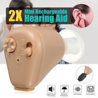 2Pcs K 88 Hearing Aid Rechargeable Mini Hearing Aids Sound Amplifier Invisible Hear Clear for the Elderly Deaf Ear Care Tools