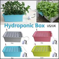 Indoor Garden Aerobic Soilless Cultivation Plant Site Hydroponic System Grow Kit Bubble Cabinet Box 24 Holes Nursery Pots