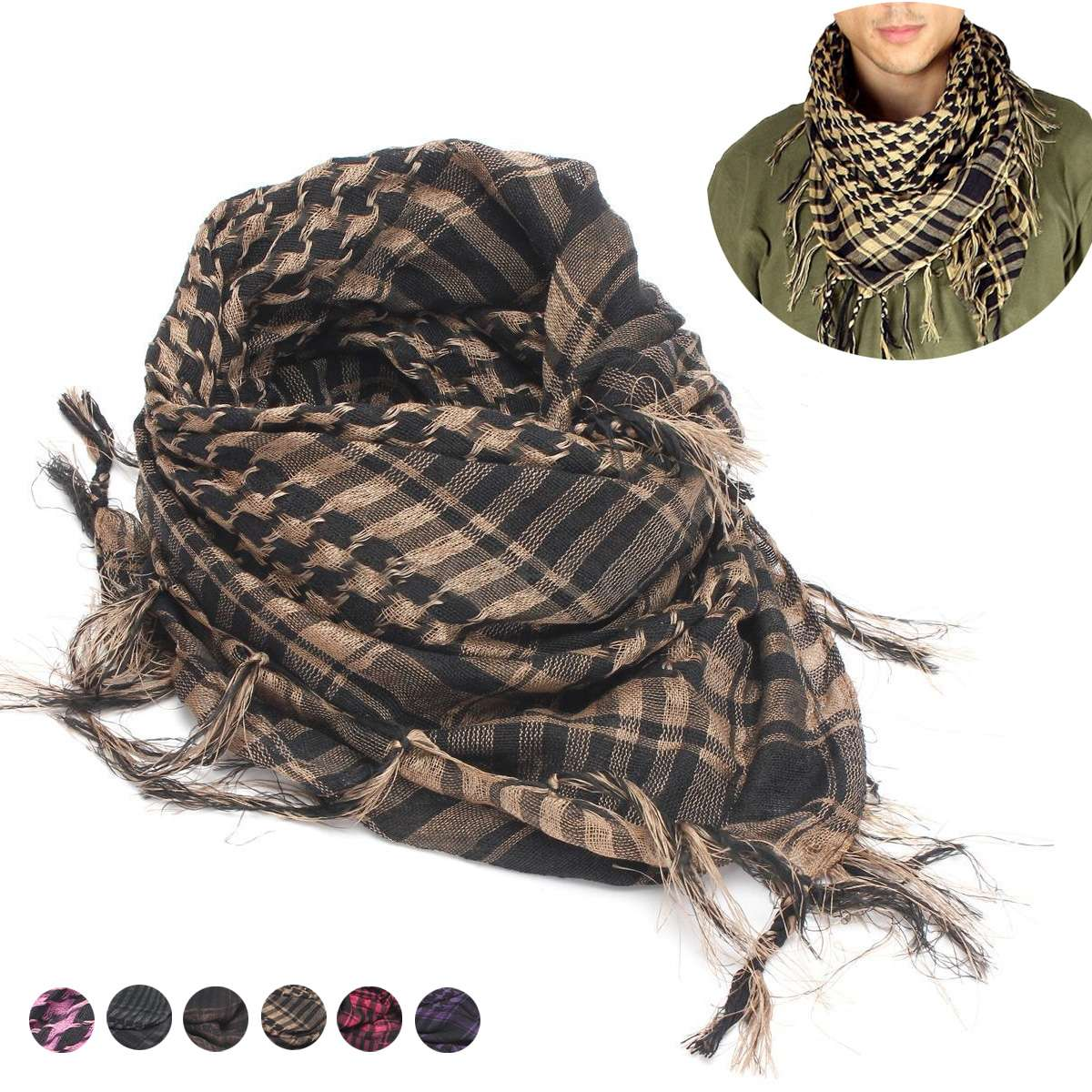 Shemagh Scarf Arab Desert Tactical Outdoor Women Unisex With Tassel