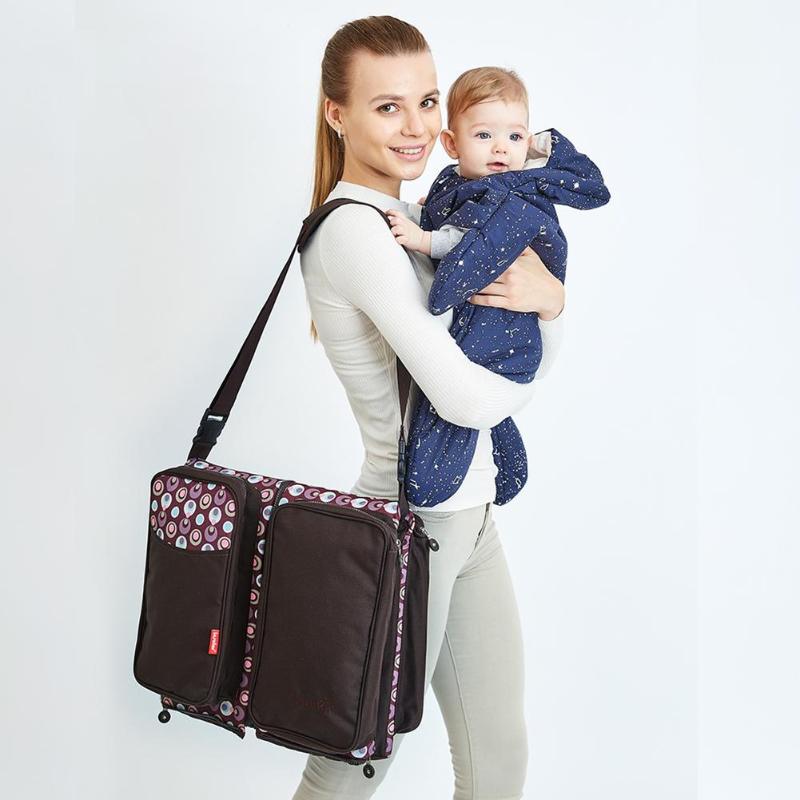 Bolsas de pañales con estilo multiusos de gran capacidad portátil cama de viaje bolsa de pañales para bebé bolsa de hombro plegable para momia-in Bolsas para pañales from Madre y niños on AliExpress - 11.11_Double 11_Singles' Day 1