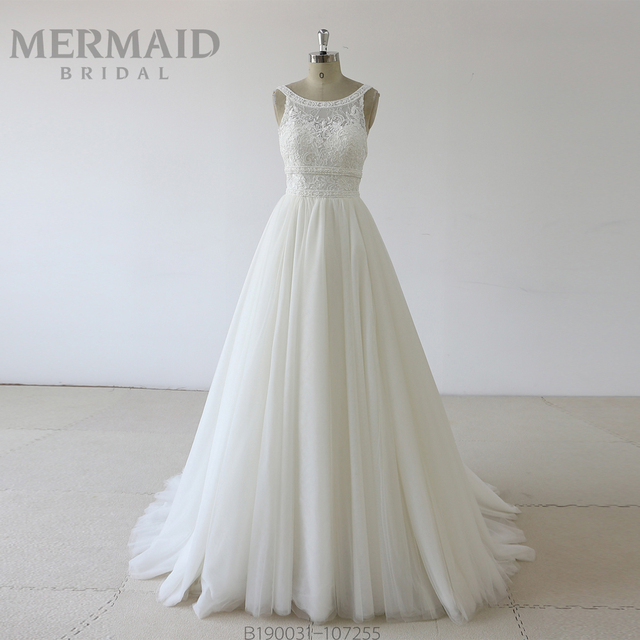 Backless heavy beading lace wedding dress 2019