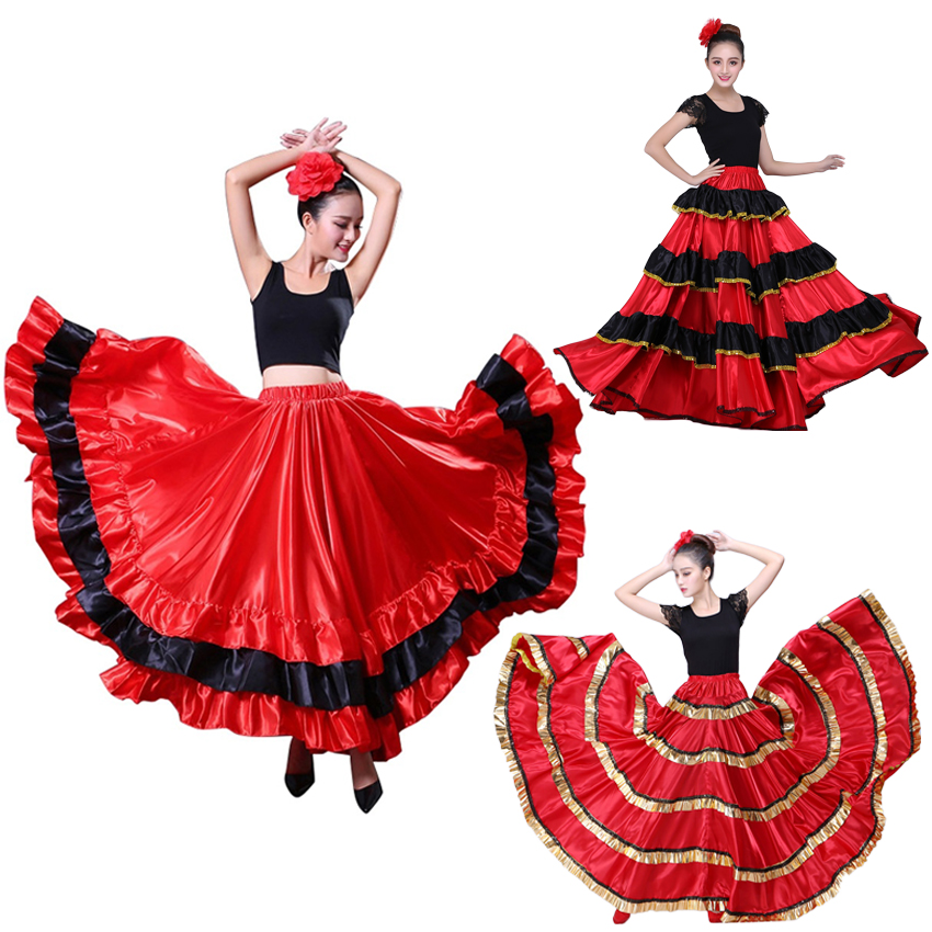 Spanish Bullfight Festical Stage Wear Performance Woman Flamenco Skirt Carnival Party Red Black Satin Belly Dance Dress