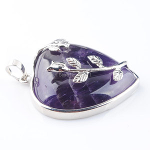 Image 3 - WOJIAER Natural Amethysts Jewelry Rose Flower Pendant Necklaces Leaf Real Love Heart Gem Jewellery for Girl PN3181