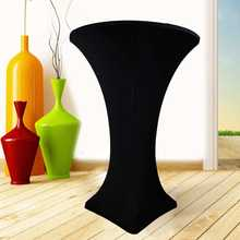 5Pcs/Set 60cm Stretch Spandex Cocktail Dry High Bar Table Cover Cloth Wedding Party Elastic Tablecloth Decoration Black(China)