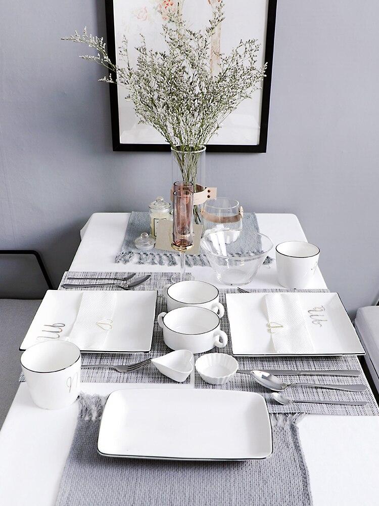 2019 mode Steak couteau fourchette assiette vaisselle ensembles créatif plat occidental ensemble complet de Steak assiette plat occidental vaisselle maison
