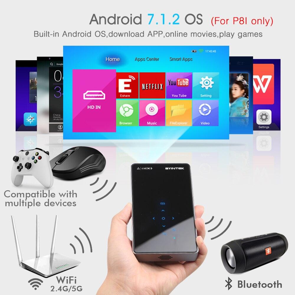 BYINTEK OVNI P8I Android 7,1 OS Pico bolsillo HD portátil láser Micro WIFI Bluetooth Mini LED, proyector DLP con batería - 3