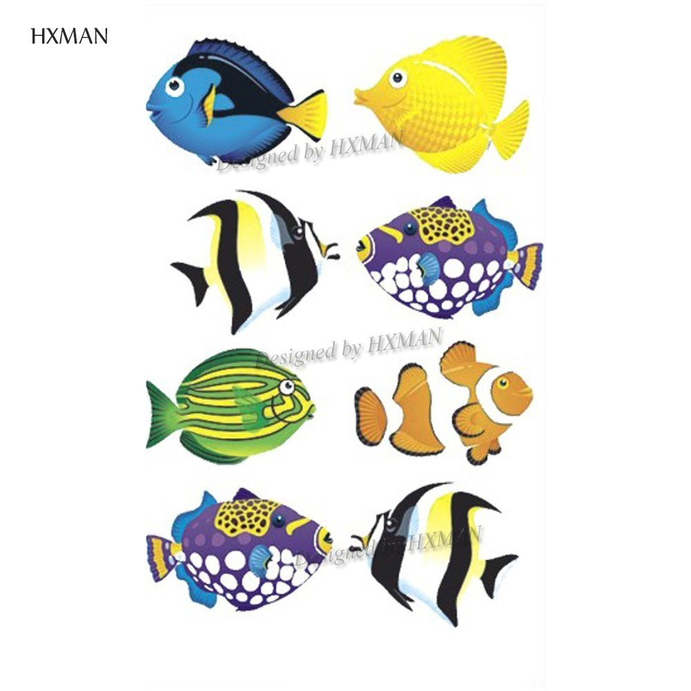 HXMAN Cartoon Animals Temporary Tattoo Sticker Waterproof Women Fashion Fake Body Art 9.8X6cm Kids Hand Tattoos Hot Design A-381
