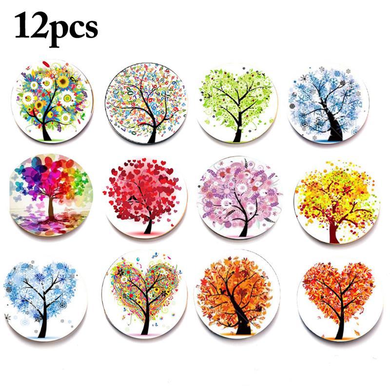 12PCS Fashion Landscape Tree Time Gem Crystal Glass Fridge Magnet Dreamlike Lifelike Fridge Magnets Home Decorations