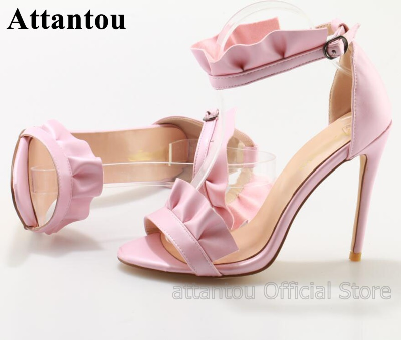 Sweet Pleated Pink Satin Woman Thin High Heel Sandals Women Open Toe Buckle Ankle Strap Shoes For SummerSweet Pleated Pink Satin Woman Thin High Heel Sandals Women Open Toe Buckle Ankle Strap Shoes For Summer