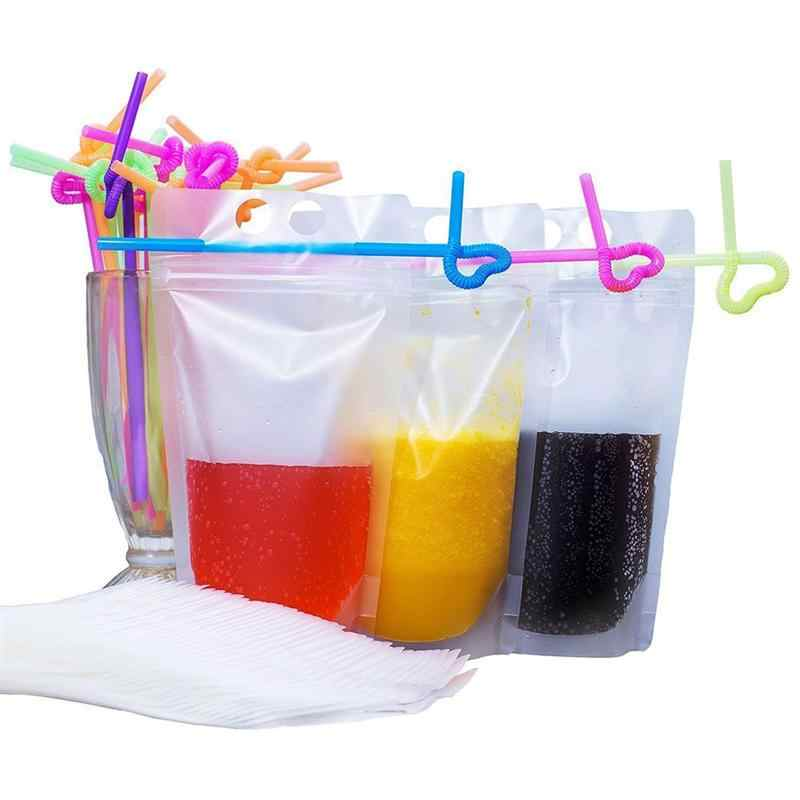 Paper Straw 50pcs Disposable Handheld Drink Container Set including Drink Pouches and Colorful Straws(Transparent) Table