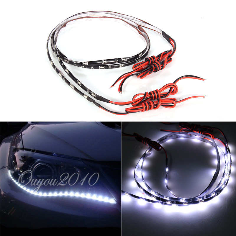 2x 60CM 30 SMD Side-emitting Side Shine Glow Flexible DRL LED Strip Light White2x 60CM 30 SMD Side-emitting Side Shine Glow Flexible DRL LED Strip Light White