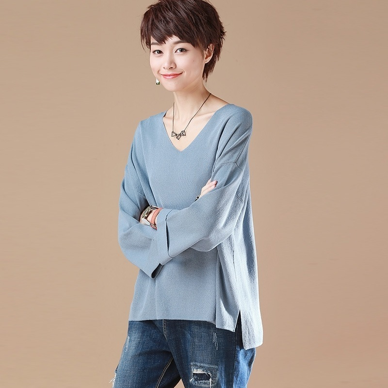 2019 printemps nouveau modèle manches V couleur de plomb T-shirt femmes pitié femme coréenne non doublé vêtement supérieur T-shirt décontracté