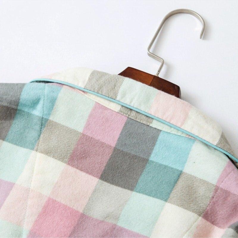 New Women Turn-Down Collar Cotton   Nightgowns   Button Spring Long Sleeve Loose   Sleepshirts   Casual Plaid Pockets Thin Sleepwear