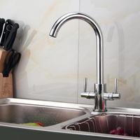 Luxury Modern Chrome Twin Lever Swivel Spout Monobloc Kitchen Sink Mixer Tap