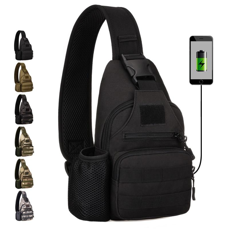 High Quality Nylon Men Sling Rucksack Shoulder Water Bottle Bags Military Assualt Knapsack Casual Male Chest Daypack Backpack