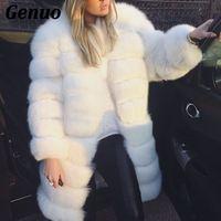 Genuo Winter Luxury Faux Fur Coat Slim Long White Faux Fur Parka Jacket Women Fake Fur Coats Teedy Coat manteau fourrure femme