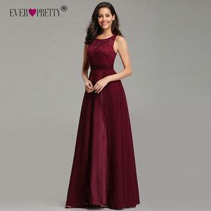 Image 2 - אלגנטי שמלות נשף ארוך 2020 פעם די EZ07695 נשים סקסי אונליין שרוולים O צוואר שיפון תחרה זול ערב מסיבת שמלות