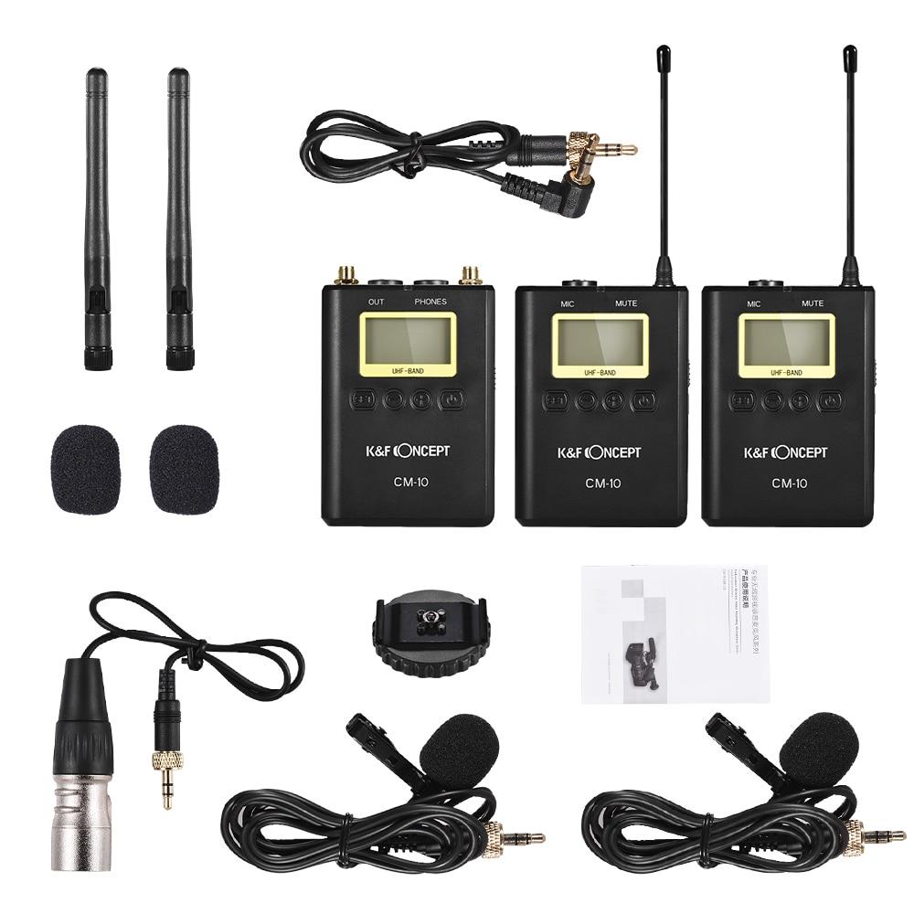 K & F CONCEPT professionnel sans fil enregistrement vidéo Lavalier Microphone système de micro pour Canon Nikon Sony DSLR appareil photo-in Microphones from Electronique    3