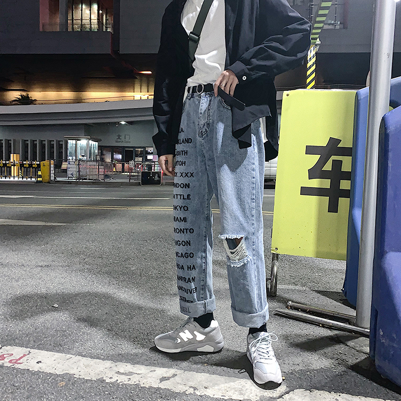 2019 Spring And Summer The New Listing Trend Couple Korean Version Of Harajuku Casual Men's Print Hole Denim Trousers Hip Hop