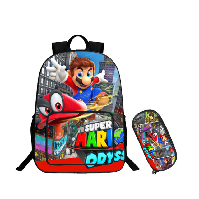 27492cd80f 16 inch Super Mario Bros Sonic Bags For Boys Batman Backpack Kids School  Bags For Teenagers Children Backpacks Pencil Bag 2 Sets