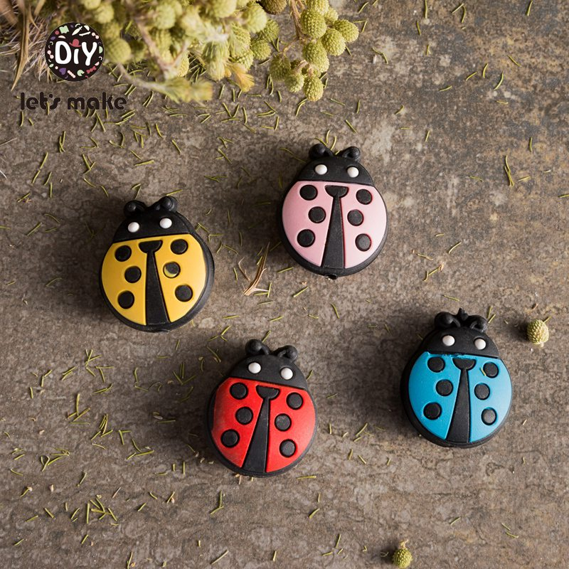 Let's Make 5pcs Silicone Beads Of Cartoon Ladybug Shape Teething Nursing DIY Beads Pacifier Clips Making BPA Free For Baby Teeth