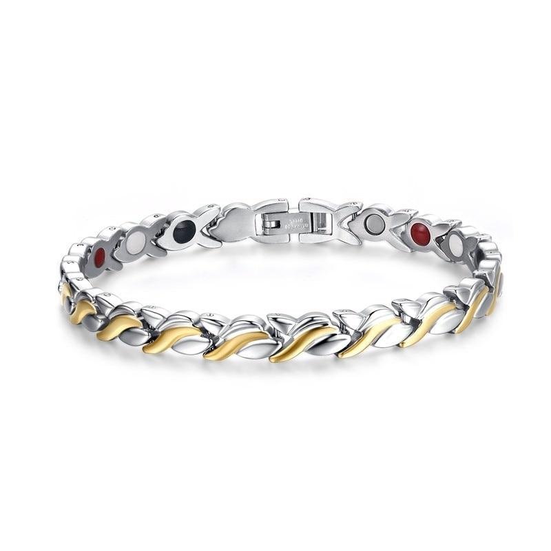 4 IN 1 Unisex Fashion Mens Womens Health Energy Bracelet Bangle for Arthritis Anti Snoring Bike Chain, Stainless Steel 316L