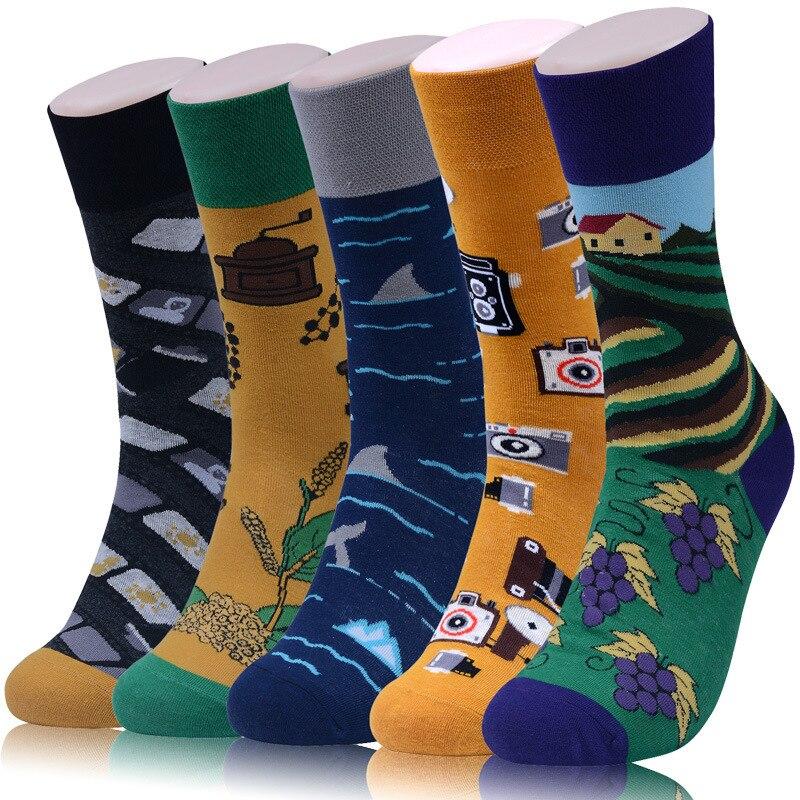 Men   Socks   Funny Cartoon Camera Film Grape Manor Sea Colorful Happy Personality Skate Harajuku Hip Hop Street Style Cotton   Socks