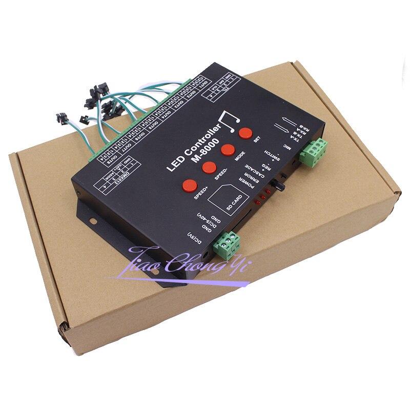Ws2812 controlador de música led controlador M 8000 progable 8096 pixel rgb controlador para ws2812b ws2801 sk6812 módulo tira conduzida - 5