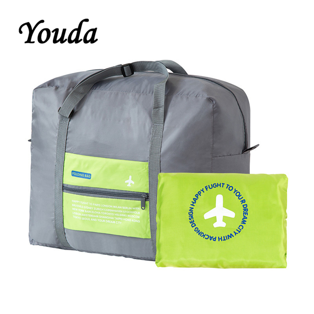 2d8320c196a6 US $8.62 38% OFF|Youda Large Capacity Folding Portable Travel Bags Clothing  Luggage Plane Travelling Duffel Storage Pouch Journey Bag-in Travel Bags ...