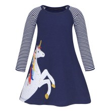 AmzBarley Girls Unicorn Dress Long Sleeve Animal Cartoon Printed Costume Striped Children Solid Color Clothes