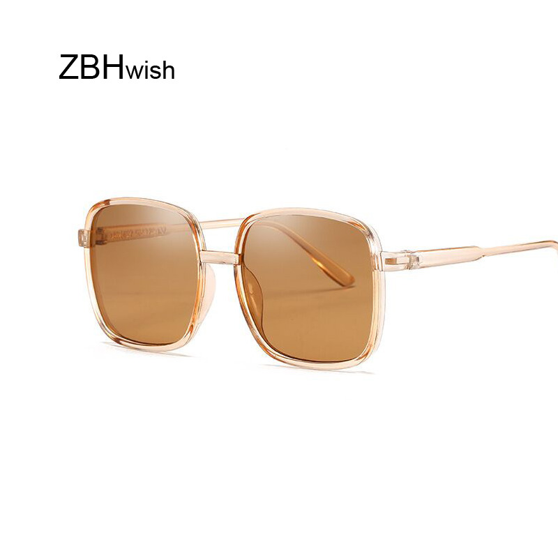 Oversized Square Sunglasses Women Luxury Transparent Gradient Sun Glasses Big Frame Vintage Eyewear UV400 Glasses For Lady