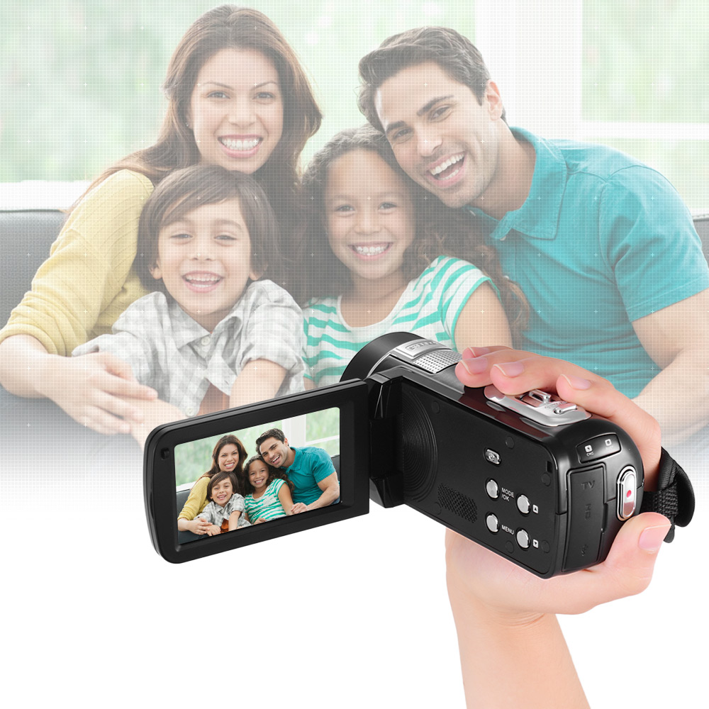 Andoer Portable Digital Video Camera Camcorder DV Recorder 24MP 16X Digital Zoom Smile Capture Beauty Face