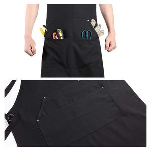 Image 4 - Promotion! Black Canvas Work Apron with Tool Pockets Cross Back Straps & Adjustable Apron Heavy Duty Apron With Pockets