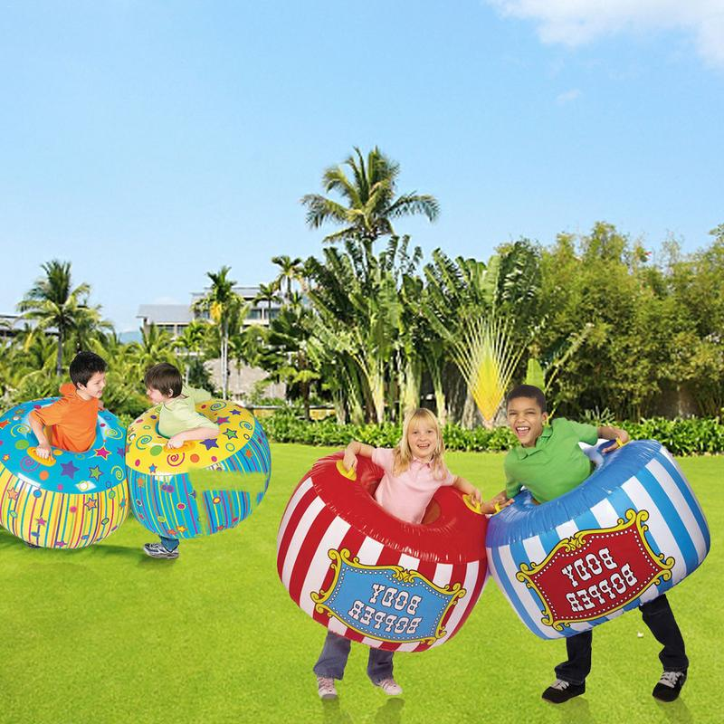 2 Pcs/set Yellow Blue Red Children Outdoor Sport Toys Inflatable Body Bucket Bumper Ball Sumo Bumper Bopper Sensory Training