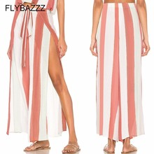 Women Wide Leg Pants 2019 Summer Hot Sexy High Split Yoga Pants High Waist Loose Palazzo Pants Striped Long Trousers Beach Pants girls frilled waist palazzo leg pants