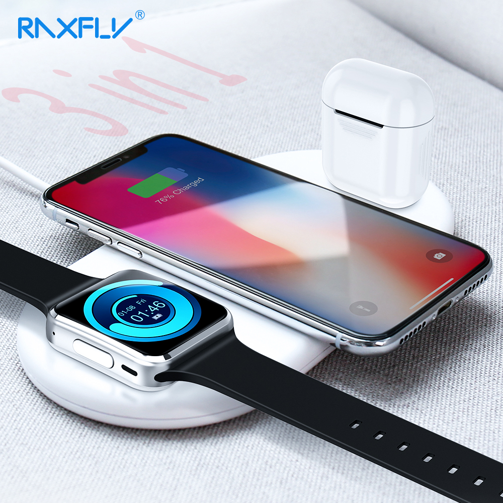 RAXFLY Fashion Wireless Charger For iPhone MAX XR XS X Watch Fast Charging AirPods Universal Phone USB Adapter