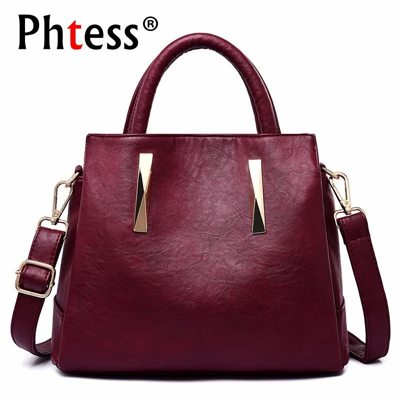 Women Leather Handbags High Quality Sac A Main Ladies Hand Bags Female Shoulder Bag Vintage Travel Solid Casual Tote Bag Girls