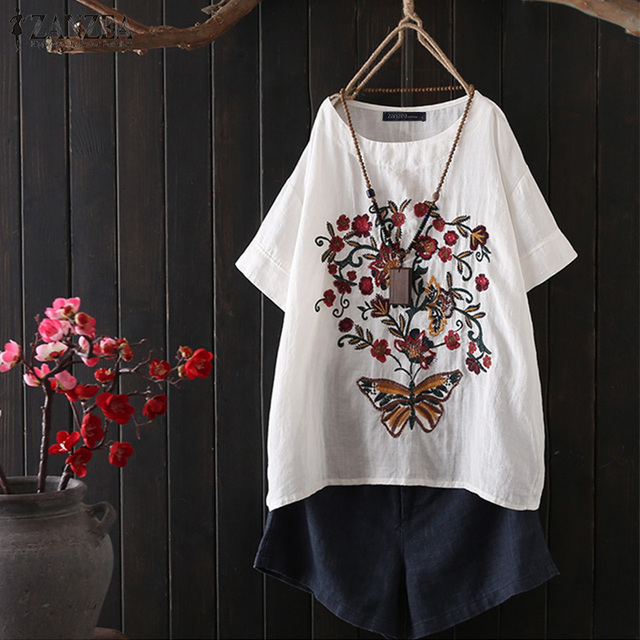 b72b8bd8e77e En venta Mujeres bordadas camiseta ZANZEA 2019 verano señora manga ...