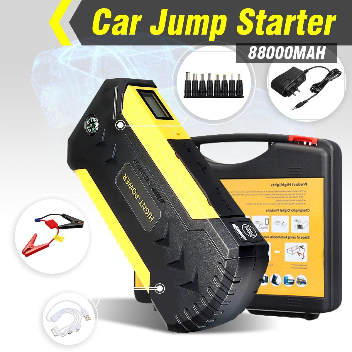 Démarreur de saut multifonction 88000 mAh 12 V 4USB 600A chargeur de batterie de voiture Portable chargeur de secours chargeur de batterie externe