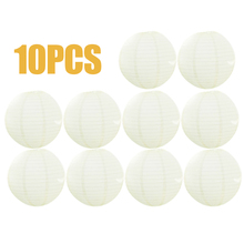 10PCS Round Chinese Paper Lanterns White Color Hanging Ball Lamps for Wedding Party Decoration