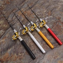 Outdoor Telescopic Mini Portable Pocket Fishing Pen Shape Pole Aluminum Alloy Rod + Reel Wheel 1PC Adjustable D35