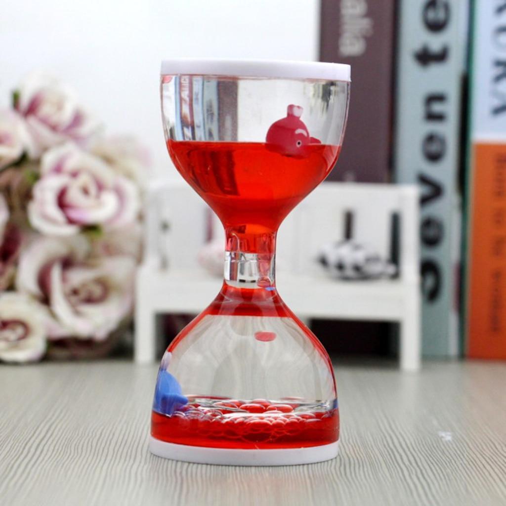 Dolphin Liquid Motion Bubbler Timer Floating Oil Hourglass - Sensory Fidgeting Toys For Kids Home Desk Decor Ornaments Red