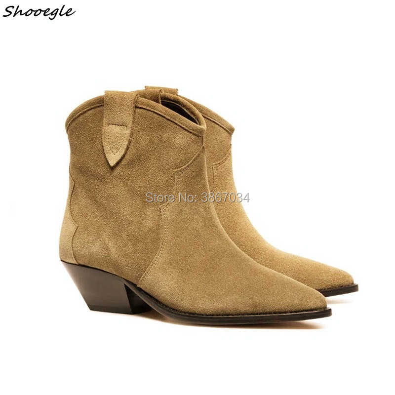 SHOOEGLE New Women Western Style Cowboy Boots Slip On Cuban Heels Pointed Toe Punk Boots Cow Suede Botas Fashion Women Boots