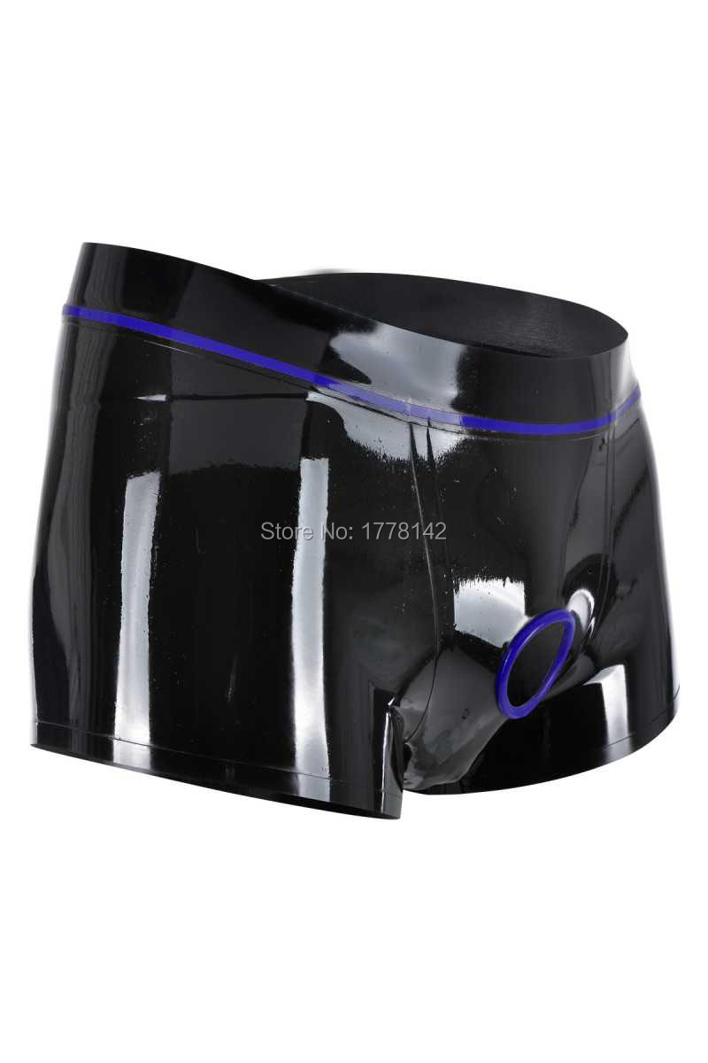 Sexy Men Latex Boxer Ring Crotch Hole Latex Underwear Customized