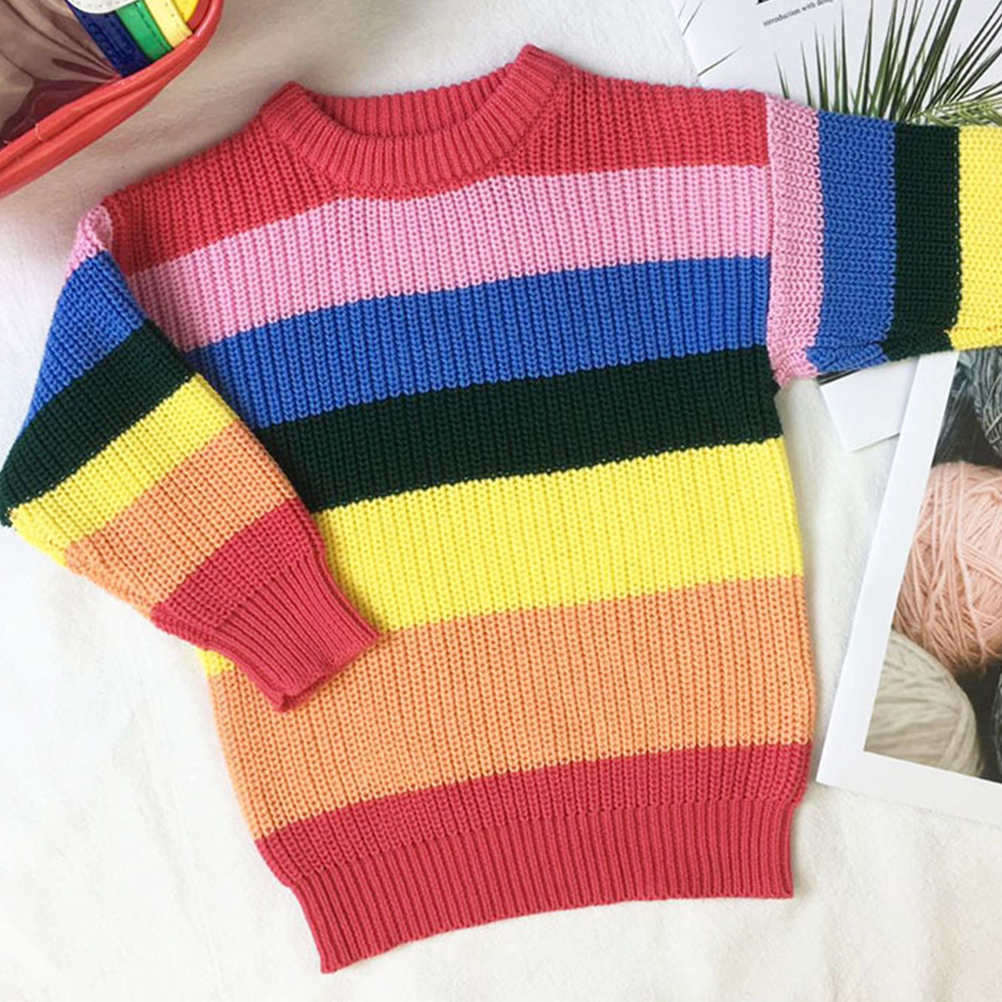2c5c09732 Autumn Sweet Toddler Baby Girls Sweaters Long Sleeve Rainbow Striped ...